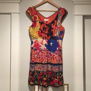 EUC Silk Moulinette Soeurs mix pattern dress sz10